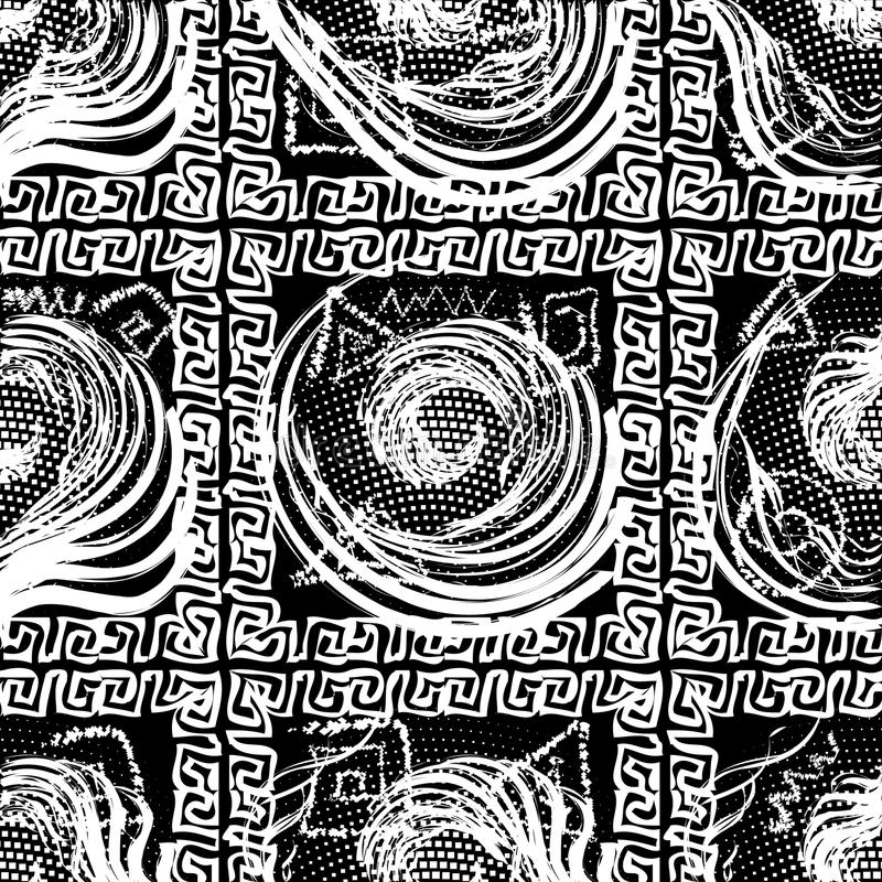Sprawdza geometrycznego czarny i biały greckiego bezszwowego wzór Geometri ilustracja wektor