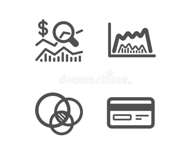 Sprawdza inwestycj?, handel map? i Euler diagram, ikony Kredytowej karty znak wektor ilustracja wektor