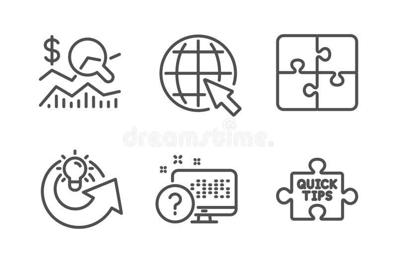 Sprawdza inwestycj?, Intryguje pomys? ikony ustawia? i Dzieli, Internet, Online quiz i Szybcy porada znaki, wektor royalty ilustracja