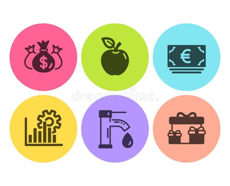 Sprawdza inwestycji, waluty ikony ustawiać, wody kranowej i euro Seo wykres, pudełka, Apple i niespodzianki podpisujemy wektor royalty ilustracja