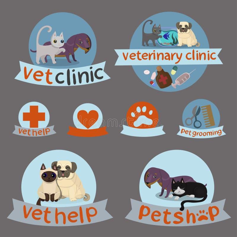 Sprawdza klinikę, zwierzę domowe sklep, przygotowywać Proste weterynaryjnej medycyny ikony i przygotowywać ikony ustawiać, z royalty ilustracja