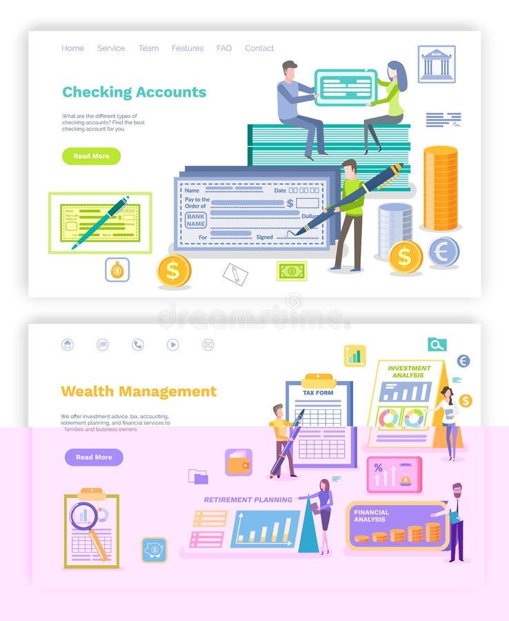 Sprawdza konto i inwestycji sieci Planistyczny set ilustracji