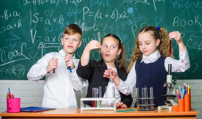 Sprawdza rezultat Dziewczyny i chłopiec studencki zachowanie eksperymentują z cieczami Pracy zespołowej pojęcie Próbne tubki z ko obraz stock
