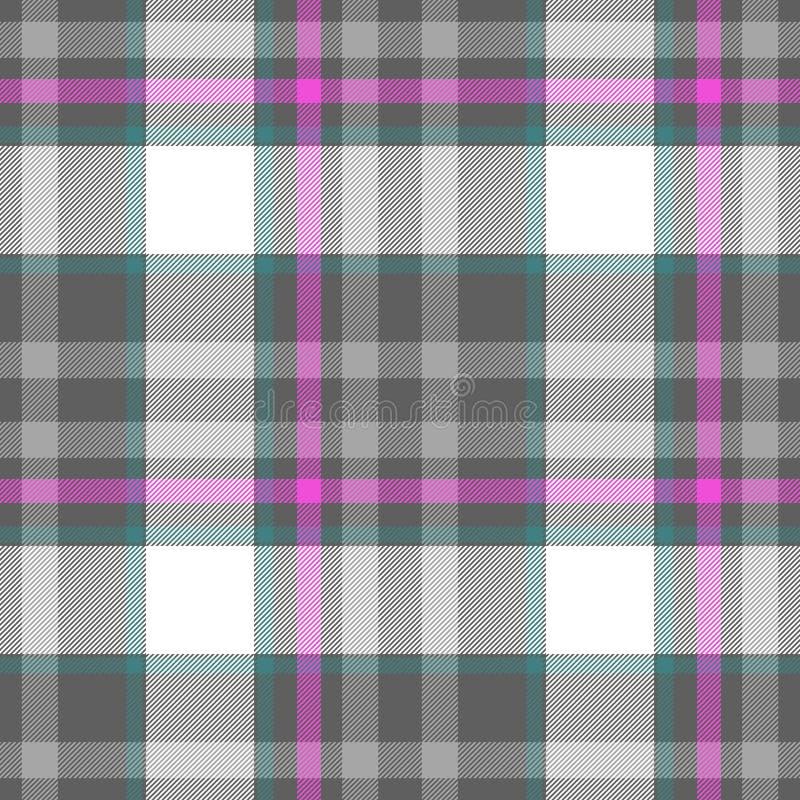 Sprawdza tartan szkockiej kraty tkaniny tekstury bezszwowego deseniowego tło szarość, menchia, biały -, i błękit barwiący ilustracji