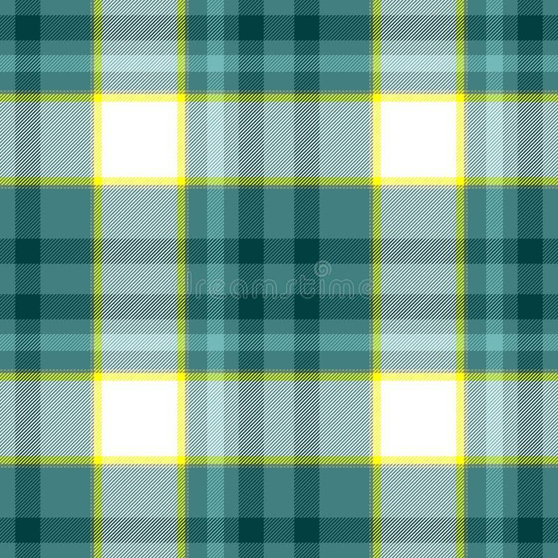 Sprawdza tartan szkockiej kraty tkaniny tekstury bezszwowego deseniowego tło zieleń, błękit, kolor żółty i biel barwiący -, ilustracja wektor