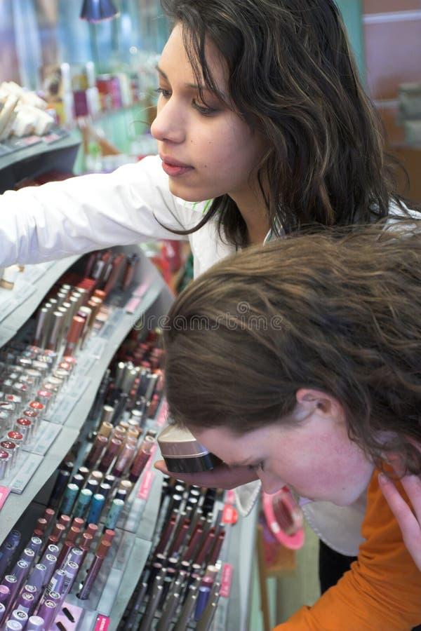 sprawdzić makijaż sekcję, obrazy stock