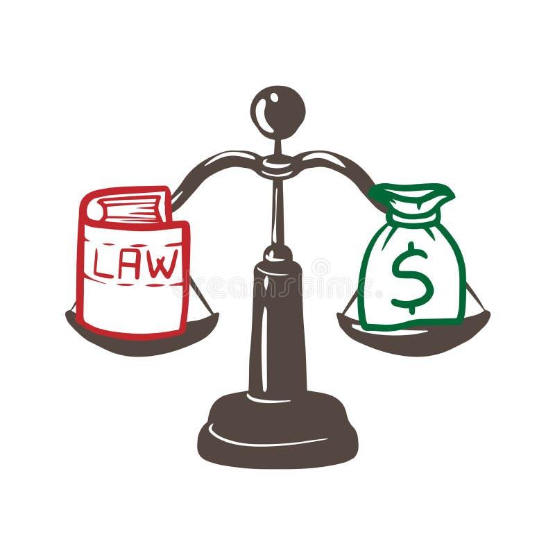 Sprawiedliwość skale z pieniądze i prawem banknotów pojęcia korupci dolarowej koperty odosobniony biel Płaski projekt Wektorowa i ilustracja wektor