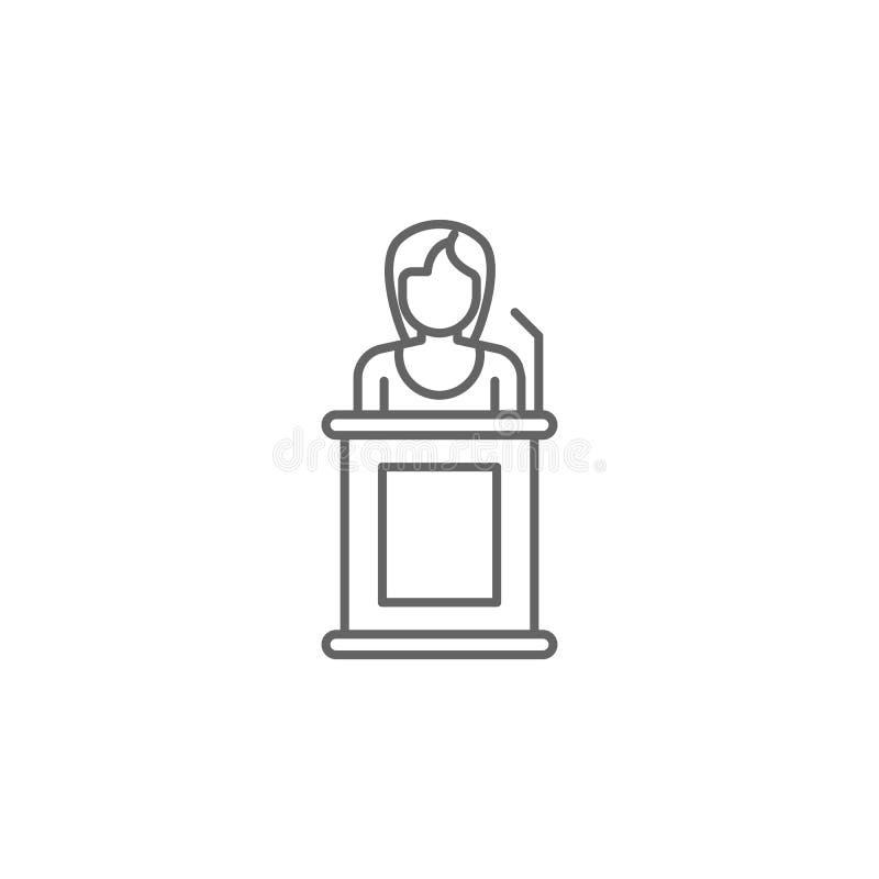 Sprawiedliwość świadka konturu ikona Elementy prawo ilustracji linii ikona Znaki, symbole i wektory, mogą używać dla sieci, logo, royalty ilustracja