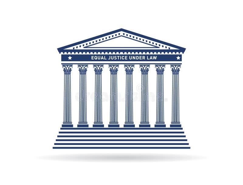 Sprawiedliwość budynku wizerunku dworski logo royalty ilustracja