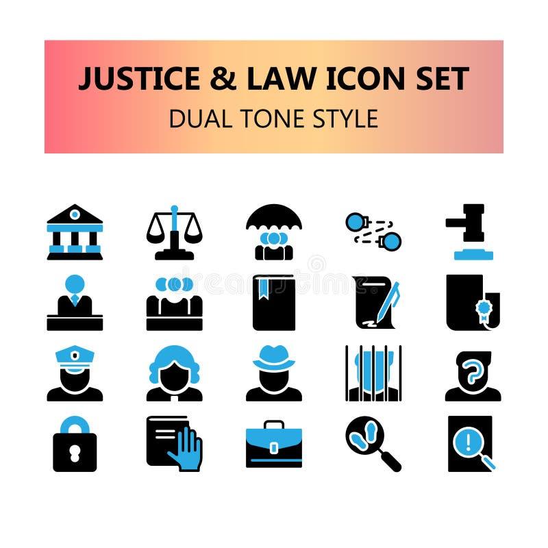 Sprawiedliwość, prawo i legalny piksel doskonalić ikony ustawiający w glifu brzmienia podwójnym kolorze, royalty ilustracja