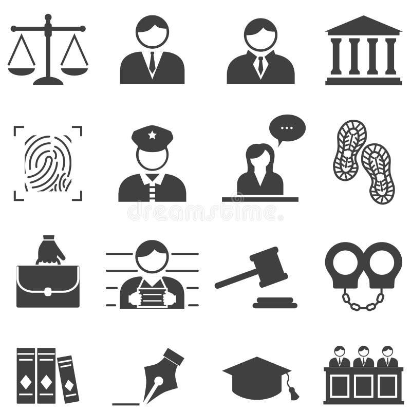 Sprawiedliwość, prawo, legalne ikony royalty ilustracja