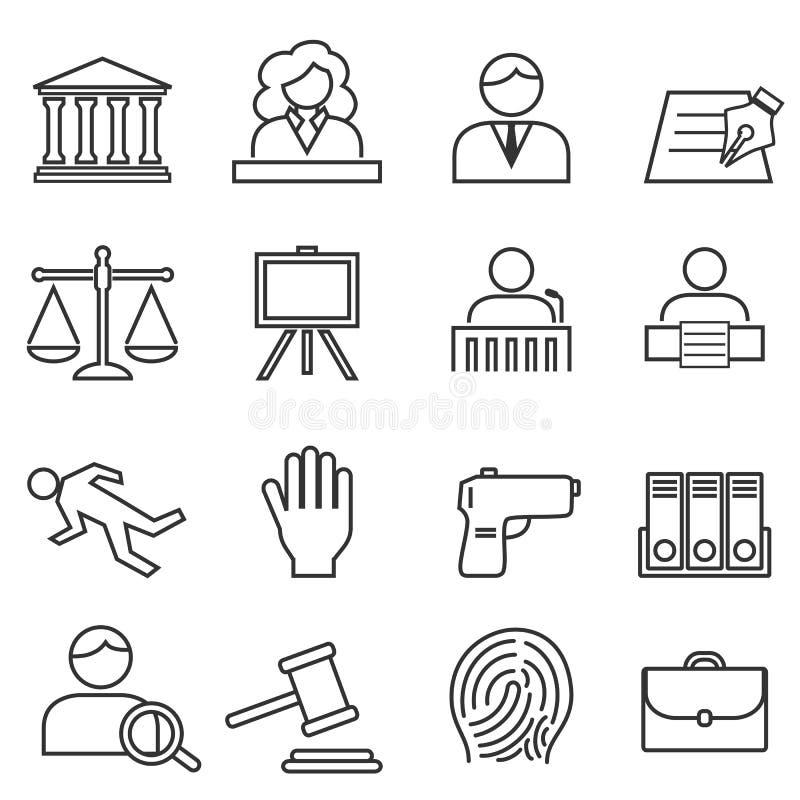 Sprawiedliwość, prawo, legalny ikona set royalty ilustracja