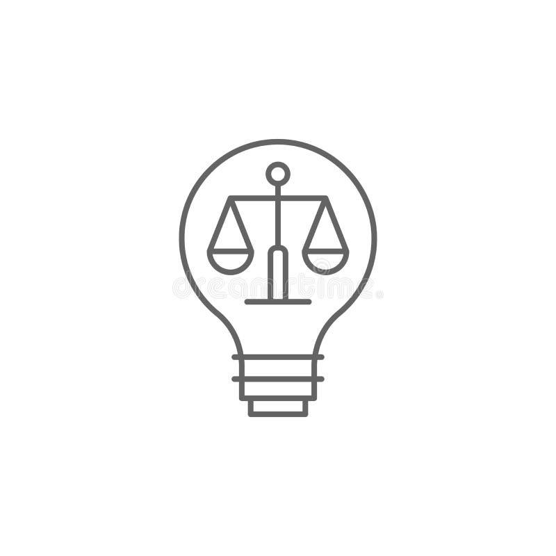 Sprawiedliwość sądu konturu ikona Elementy prawo ilustracji linii ikona Znaki, symbole i wektory, mogą używać dla sieci, logo, wi ilustracji