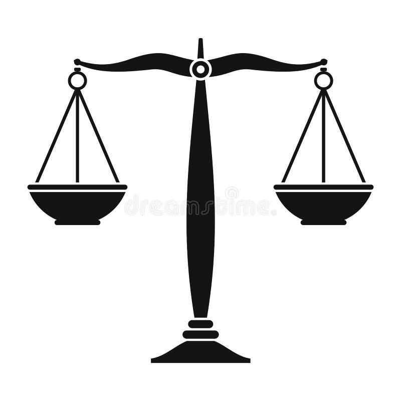 Sprawiedliwość waży czarną ikonę ilustracja wektor