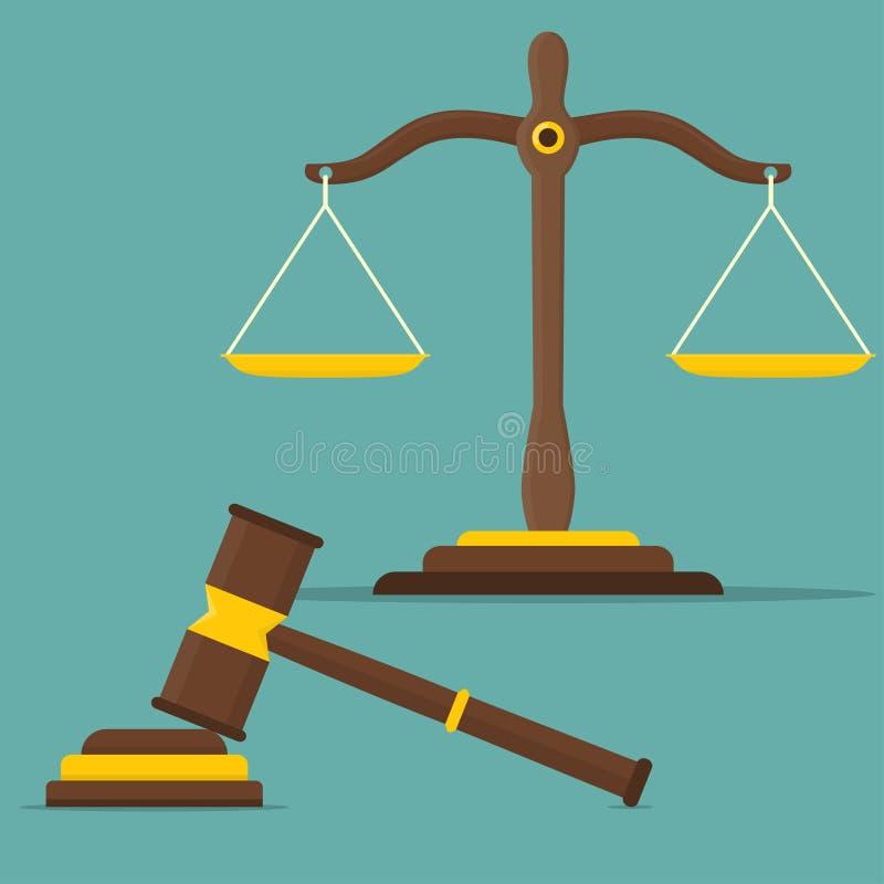 Sprawiedliwość waży i drewniany sędziego młoteczek Libra w płaskim projekcie również zwrócić corel ilustracji wektora royalty ilustracja