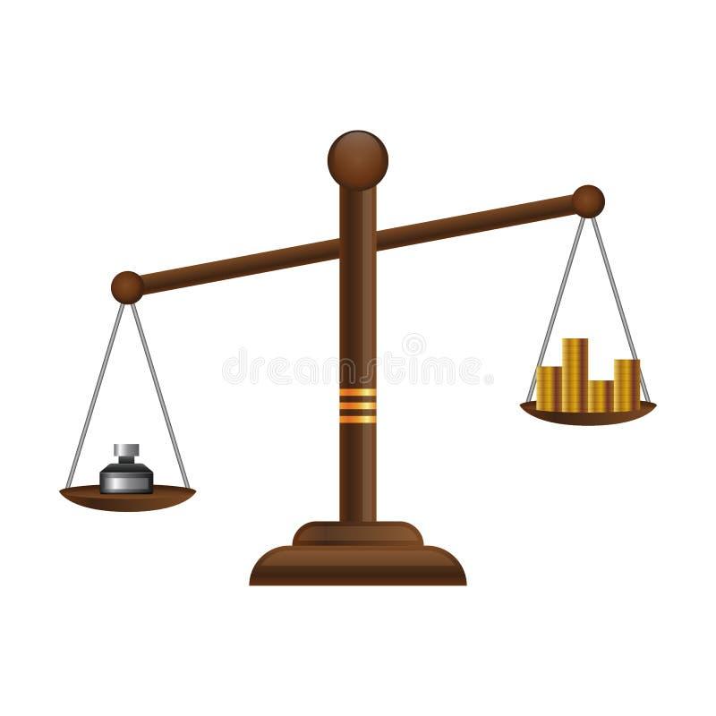 Sprawiedliwość waży ikonę Prawo balansowy symbol Libra płaski projekt z złocistymi pieniądze monetami royalty ilustracja