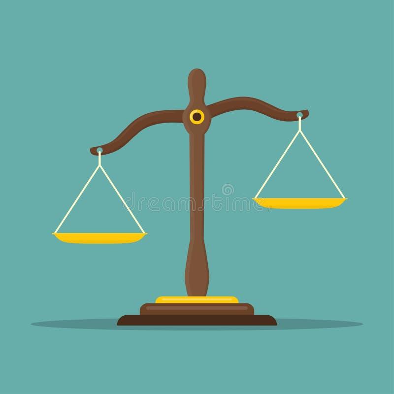 Sprawiedliwość waży ikonę Prawo balansowy symbol Libra w płaskim projekcie również zwrócić corel ilustracji wektora ilustracja wektor