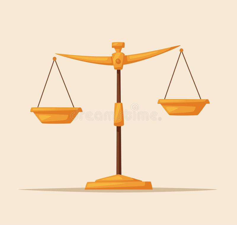 Sprawiedliwość waży ikonę Prawo balansowy symbol obcy kreskówki kota ucieczek ilustraci dachu wektor royalty ilustracja