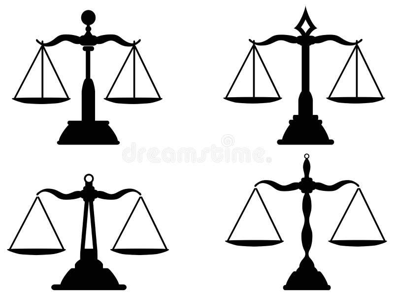 Sprawiedliwość waży sylwetkę royalty ilustracja