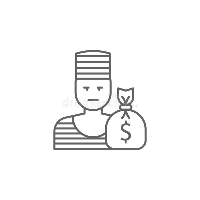 Sprawiedliwość złodzieja konturu ikona Elementy prawo ilustracji linii ikona Znaki, symbole i wektory, mogą używać dla sieci, log ilustracji