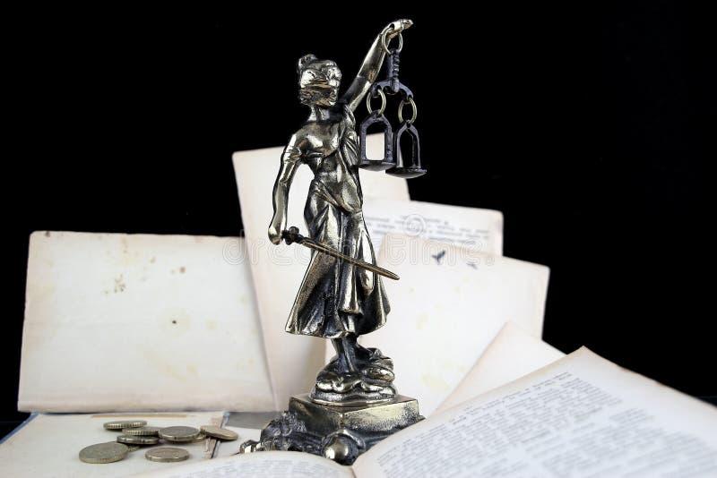 Sprawiedliwości dama, stare książki i euro monety. Prawnika tło zdjęcia stock