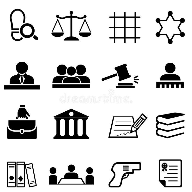 Sprawiedliwości, prawa, legalnego i prawnika ikony set, ilustracja wektor