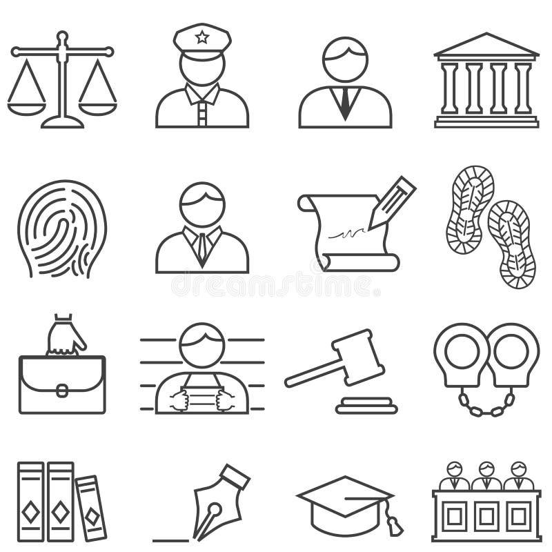 Sprawiedliwości, prawa, prawnika i sądu ikony set, royalty ilustracja