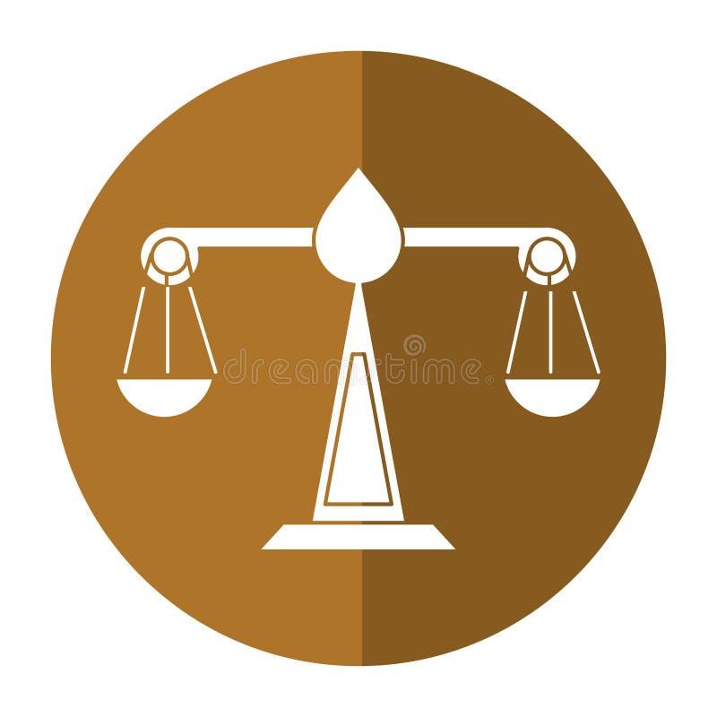 Sprawiedliwości prawa symbolu szalkowy cień ilustracja wektor