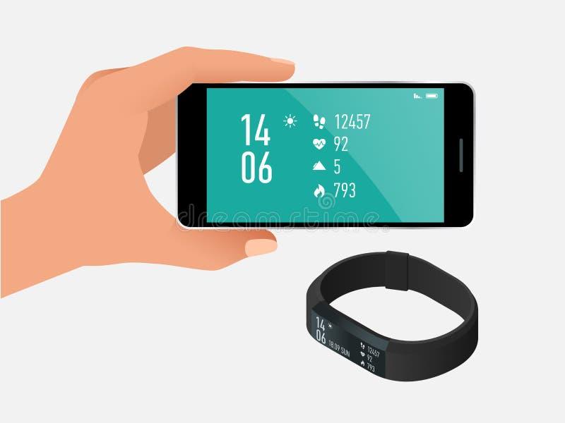 Sprawność fizyczna tropiciel z smartphone odizolowywającym na bielu lub bransoletka Bawi się akcesoria, wristband z działającą ak ilustracja wektor