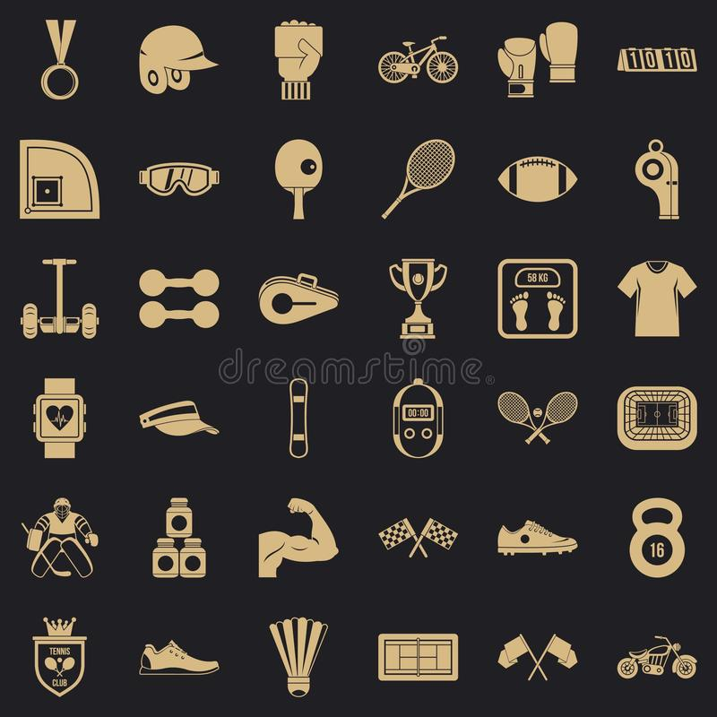 Sprawności fizycznej życia ikony ustawiać, prosty styl ilustracji