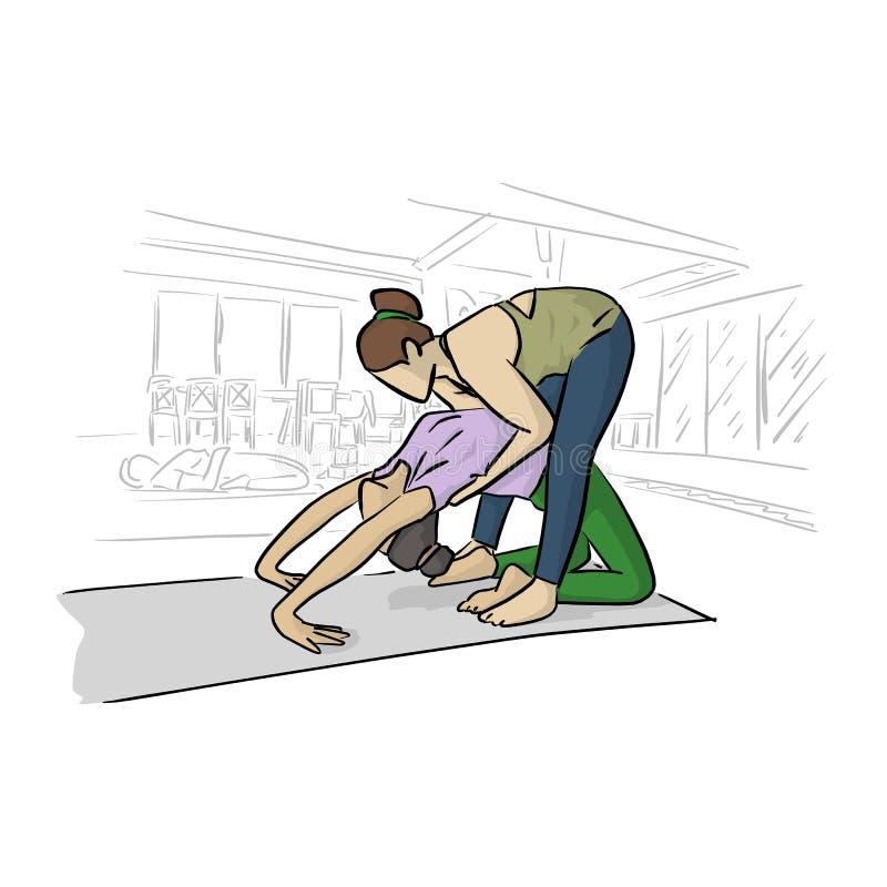 Sprawności fizycznej kobieta robi joga z jej instruktorem w izbowej wektorowej ilustracji z czerni liniami odizolowywać na białym ilustracji