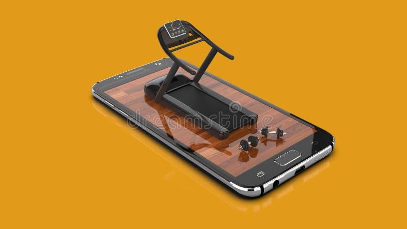 Sprawności fizycznej Smartphone Mobilny Podaniowy pojęcie royalty ilustracja