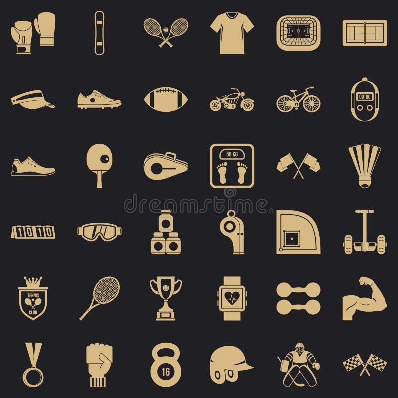 Sprawności fizycznych ikony ustawiać, prosty styl royalty ilustracja