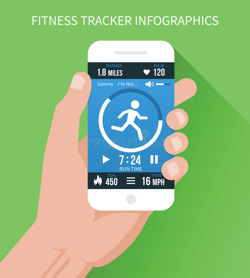 Sprawność fizyczna app na telefonie komórkowym w ręce ilustracja wektor