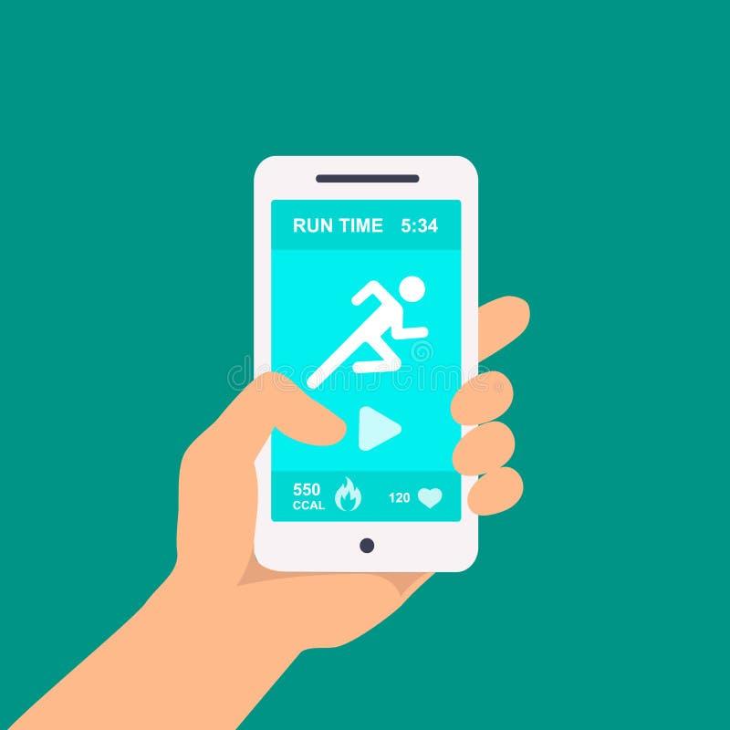 Sprawność fizyczna app na telefonie komórkowym w ręka wektorze ilustracji