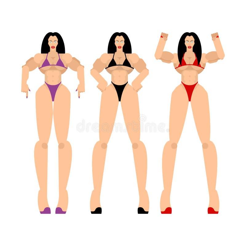 Sprawność fizyczna bikini Żeński pozować Piękny sporty ciało kobiety bodybuilding Sportowy Mięśniowy model ilustracja wektor