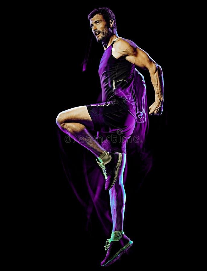 Sprawność fizyczna boksu ćwiczenia ciała walki cardio mężczyzna odizolowywał czarnego tło fotografia stock