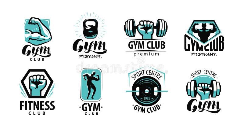 Sprawność fizyczna, gym logo lub etykietka, Sport, bodybuilding pojęcie również zwrócić corel ilustracji wektora ilustracja wektor