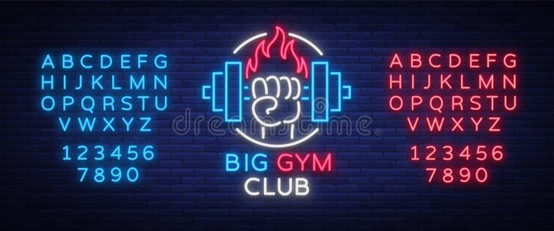Sprawność fizyczna, gym logo podpisuje wewnątrz neonowego styl odizolowywającego, wektorowa ilustracja Rozjarzony sztandar, jaskr ilustracji