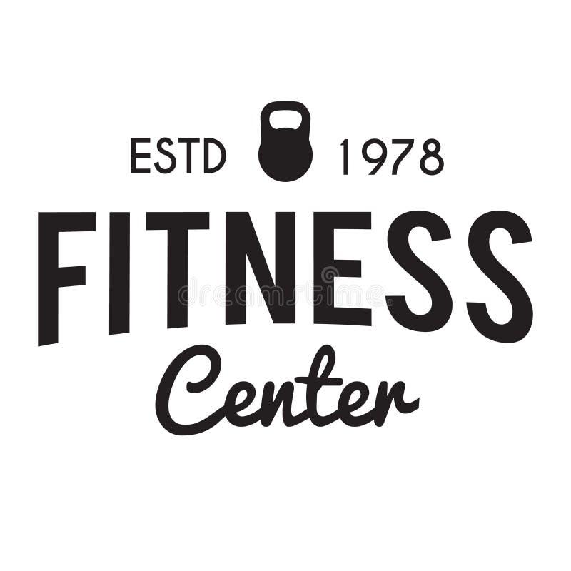 Sprawność fizyczna i Gym centrum typograficznego modnisia O temacie odznaka ilustracji