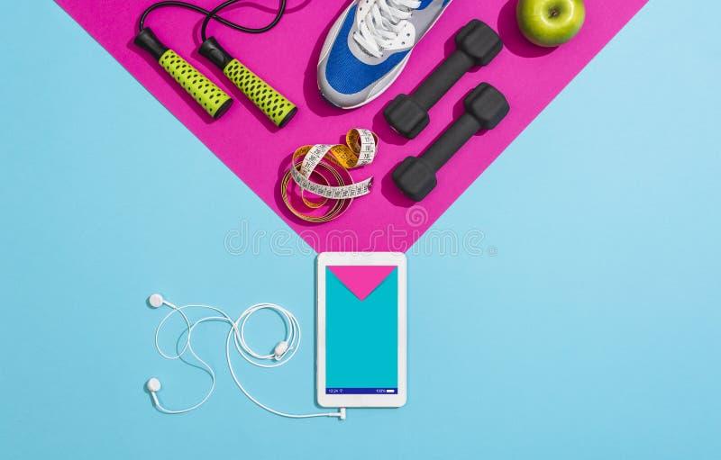 Sprawność fizyczna i sporty trenuje app fotografia stock
