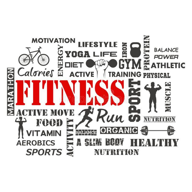 Sprawność fizyczna i Zdrowy ćwiczenia słowo ilustracja wektor
