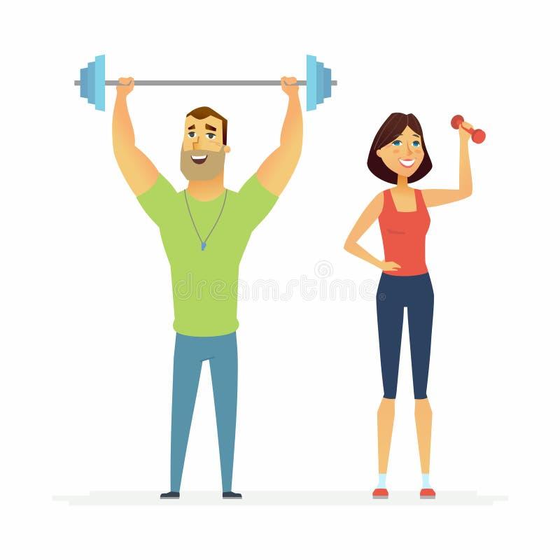 Sprawność fizyczna instruktorzy - kreskówka charakterów ilustracyjnych ludzie ilustracji