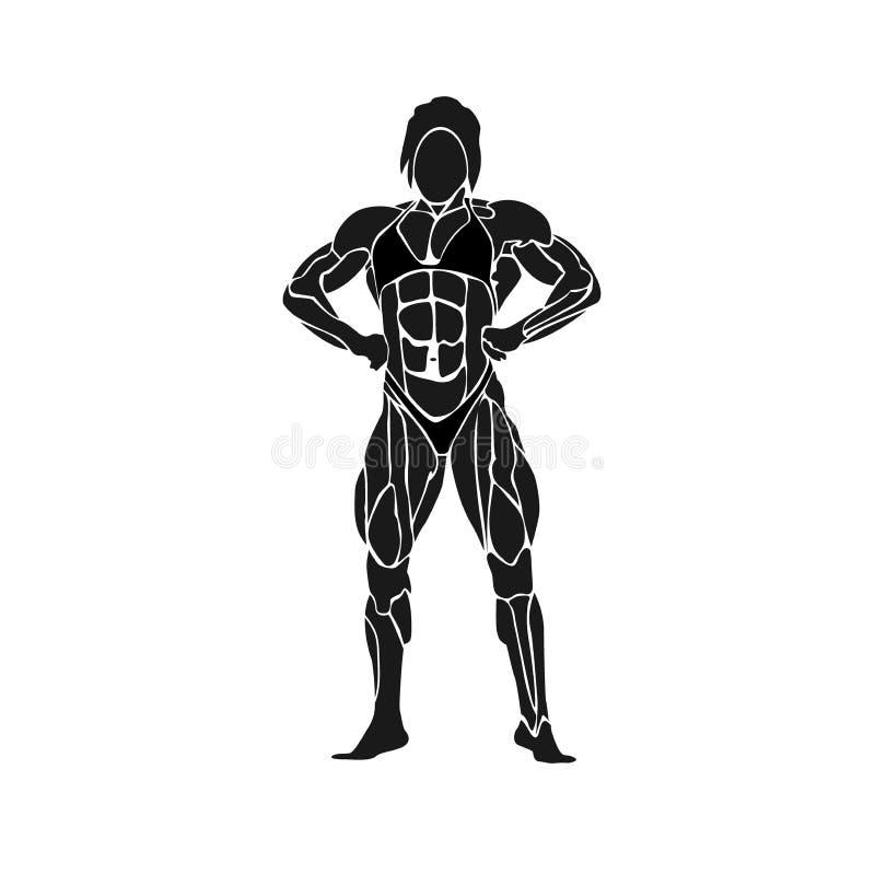 Sprawność fizyczna klubu emblemat, bodybuilding pojęcie, wektorowa ilustracja ilustracji
