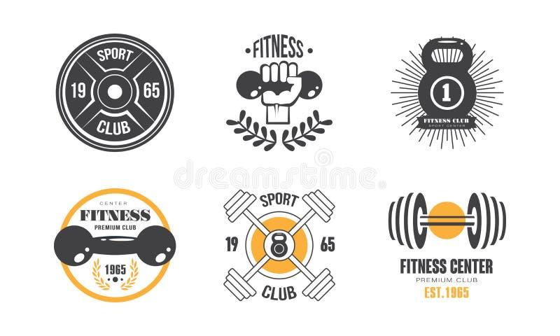 Sprawność fizyczna klubu rocznika logo set, retro odznaka dla sporta centrum, gym wektorowa ilustracja na białym tle ilustracja wektor