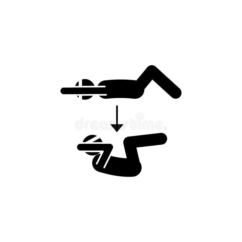 Sprawność fizyczna, kolano, siedzi ups ikonę Element sprawności fizycznej ilustracja Znaki i symbol ikona mogą używać dla sieci,  ilustracji