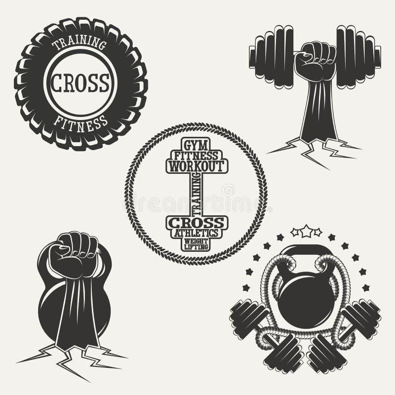 SPRAWNOŚĆ FIZYCZNA loga set royalty ilustracja