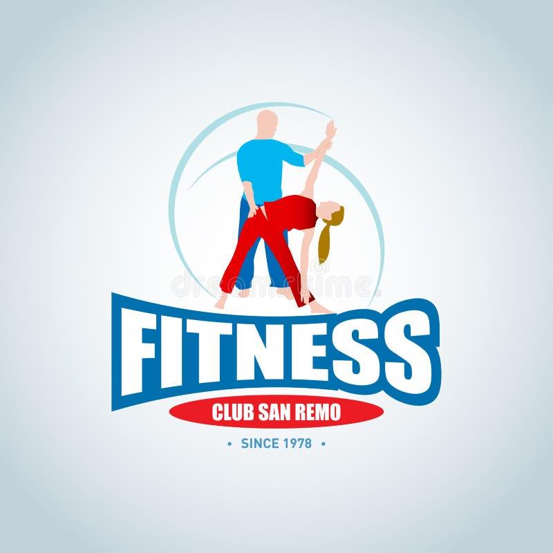 Sprawność fizyczna loga szablon Mężczyzna i kobiety sprawność fizyczna Gym świetlicowy logotyp Sport sprawności fizycznej klubu k ilustracji