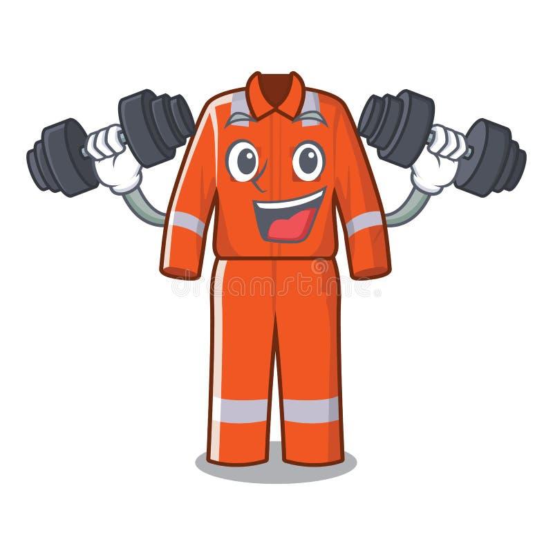 Sprawność fizyczna pracujący kombinezony w kreskówka kształcie ilustracja wektor