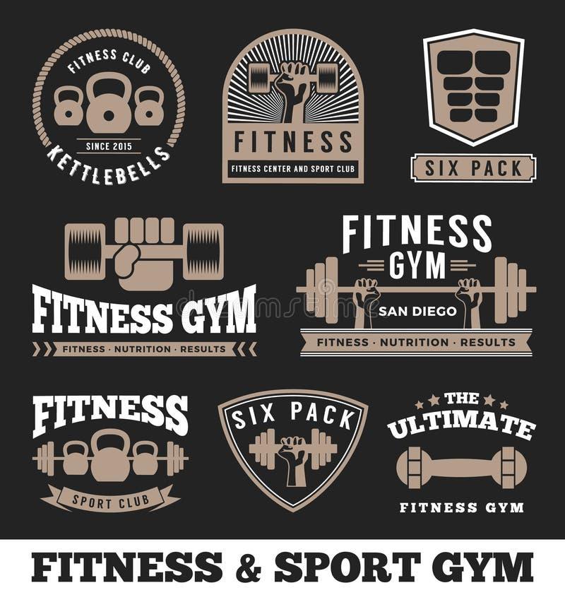 Sprawność fizyczna sporta i gym klubu loga emblemata projekt ilustracja wektor
